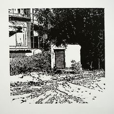 Veľkomoravská 2866-9 OzTN II [printmaking, cutting into MDF] #printmaking #woodcut #bunker #art #shelters