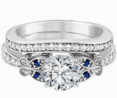 Engagement Ring - Blue Eyes Butterfly Bridal Set in 14K White Gold - ES334BRBSBS on Wanelo