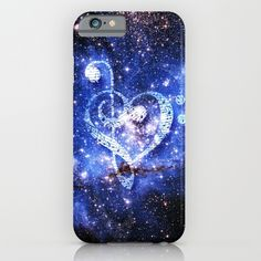Love for Music - Created by Donkey Inferno<br/> Treble and Bass clef in the shape of a heart floating through the galaxy