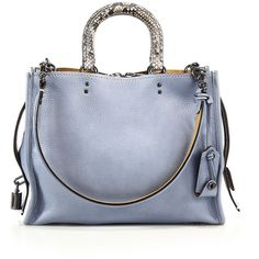 COACH 1941 Rogue Leather & Python Satchel ($1,200) ❤ liked on Polyvore featuring bags, handbags, apparel & accessories, blue, blue satchel handbags, python handbag, blue purse, genuine leather satchel handbags and satchel purse
