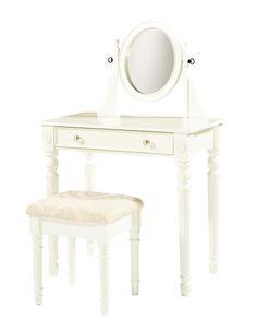 Linon Lorraine Vanity Set-White, White