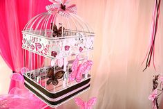 """Photo 1 of 19: Pink And Brown Butterfly / Baby Shower/Sip & See """"Welcome Baby Girl""""   Catch My Party"""