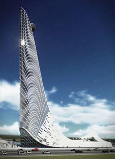 SKYscraper on Behance - Architecture - Organic Architecture, Futuristic Architecture, Beautiful Architecture, Contemporary Architecture, Architecture Design, Contemporary Houses, Contemporary Decor, Contemporary Chandelier, Chinese Architecture
