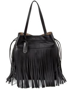 Fringed leather bucket bag Miu Miu O18o6
