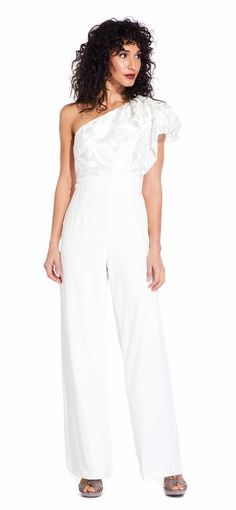 1dacb6ce3608 Ruffle One Shoulder Jumpsuit with Embroidered Filigree Detail