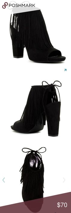 "Carlos Santana Fringed Bootie Sizing: True to size.           - Open toe - Fringed accents - Drawstring closure - Chunky heel - Approx. 4.25"" heel, 0.25"" platform - Imported Materials Suede upper, manmade sole Carlos Santana Shoes Ankle Boots & Booties"
