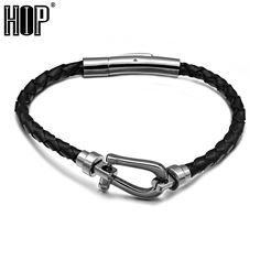 HIP Punk Cool Hook Stainless Steel Magnet Bracelets 20cm Handmade Genuine Leather Weave Bangles for Men Jewelry