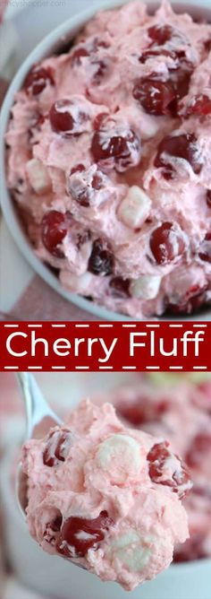 Cherry Fluff Cherry Fluff Salad is an incredibly easy salad that is light, fluffy and delicious. We make it with cherry pie filling, cream cheese, Cool Whip, a bit of sugar and marshmallows. Fluff Desserts, Cool Whip Desserts, Cherry Desserts, Köstliche Desserts, Cherry Salad Recipes, Jello Recipes, Creamy Fruit Salads, Dessert Salads, Jello Salads