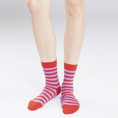 Don't settle for plain white; have fun with your footwear! Marimekko Raitsu Brick/Lilac Striped Socks
