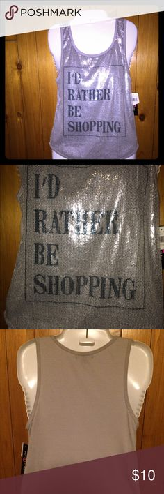 NWT sequin shopping tank🛍🎉 So fun and cute for those that love to shop. Beautiful silver sequins and blue writing. Fun! Still has tags on it. 🛍🛍🛍 Tops Tank Tops