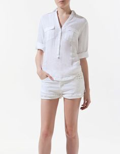 For shopping list: Light button down shirt to wear with A-line skirts (or maxis) (zara)