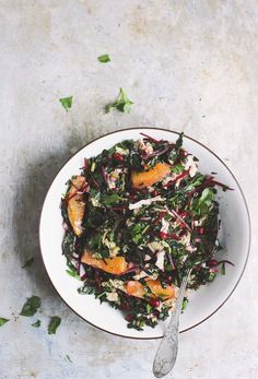 Winter Chopped Salad with Lemon Vinaigrette | Winter chopped salad packed with kale and pomegranates and oranges and a zesty lemon vinaigrette. A hearty, naturally vegan and gluten-free kale salad.
