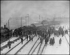 Train wreck at Everett, Mass. (Boston & Maine R.) by Boston Public Library Old Trains, Vintage Trains, West Virginia History, Railroad History, Train Art, Rail Car, Boston Public Library, Train Tracks, Public Transport