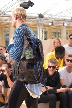 Closer look at the details from the Louis Vuitton Spring-Summer 2018 Fashion Show by Men's Artistic Director Kim Jones, presented in the Palais Royal in Paris, France.