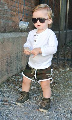 cute kid boy toddler summer fashion style. camo shorts.