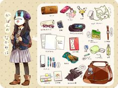 Mochila Kanken, What's In My Backpack, Kawaii Bags, Drawing Bag, Bag Illustration, Cute Notes, Cute Paintings, What In My Bag, Old Anime