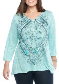 Kim Rogers Flume Turquoise Plus Size Knit Screen Tee