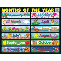 Use a classroom chart to help students master the months of the year. The Months of the Year chartlet measures x and features all 12 months. You can display this chart for students anywhere in your learning environment for a year-round reference. Charts For Classroom Decoration, Classroom Charts, Classroom Walls, Classroom Bulletin Boards, Elementary Bulletin Boards, Birthday Bulletin Boards, Preschool Calendar, Classroom Calendar, Preschool Supplies