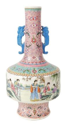 A Chinese famille rose vase, the drum-shaped body