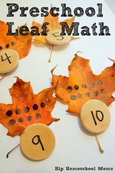 Leaf Math Match Up. Fun fall preschool activity. You could have kids draw the dots on each leaf for more practice!