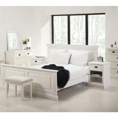 Lit Auchan pas cher, achat ALINEA Romance night Lit 160x200cm en pin blanc Chambre de charme prix promo Auchan 599.00 €