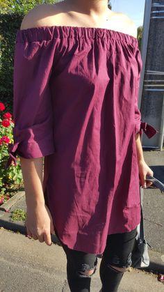 Blouse fluide –  Épaules dénudées / Nœuds aux manches