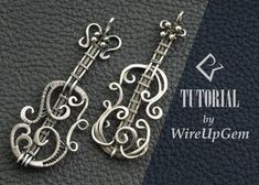Musical instrument inspired wire wrapped pendants and tutorials from WireUpGem - Jewelry / Schmuck - Wire Crafts, Jewelry Crafts, Handmade Jewelry, Earrings Handmade, Wire Jewelry Designs, Metal Jewelry, Chain Jewelry, Jewelry Holder, Jewellery Box