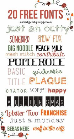 """20 Free Fonts"" Sincerely Peachy"