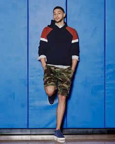 Camo shorts with a knit hoodie is easy spring look to throw on and step out. Photo by for and Link in bio to shop. Ben Simmons, Nba Players, Basketball Players, Nba Fashion, Mens Fashion, Romantic Couple Hug, Sport Outfits, Casual Outfits, Casual Wear