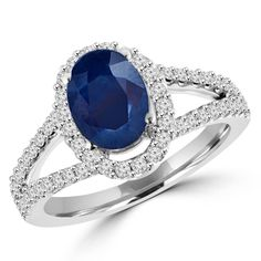 Oval Cut Blue Sapphire Gemstone Multi-Stone Split-Shank 4-Prong Halo Cocktail Ring with Round Diamond Accents in White Gold –
