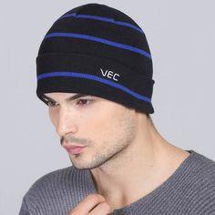 Warm striped beanie hat for men winter outdoor climbing knit hats Mens Knit Beanie, Knit Hats, Beanie Hats, Black And Navy, Black Stripes, Hat For Man, Love Hat, Winter Wear, Climbing