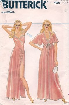 Butterick 4669; ca. early 1980s; Misses' Robe & Nightgown. Loose-fitting robe has high self...