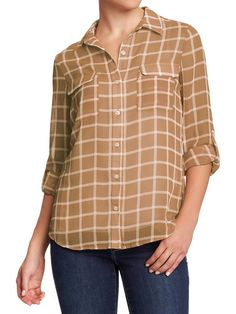 Old Navy Womens Tab Sleeve #Plaid Chiffon #Shirt $20