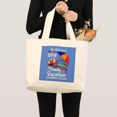 2018 Family Vacation  Cruise Graphic Personalized Large Tote Bag - holidays diy custom design cyo holiday family