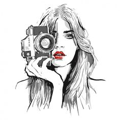 Photography Camera Tattoo Nikon 26 New Ideas Camera Drawing, Camera Art, Art And Illustration, Drawing Sketches, Art Drawings, Illusion Kunst, Girls With Cameras, Photographer Logo, Drawing People