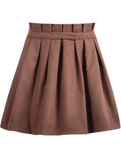 Khaki High Waist Pleated Skirt 17.83