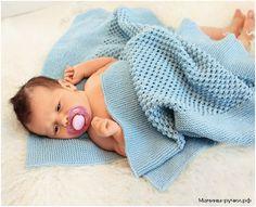 Голубой детский плед вязаный спицами (baby blanket knitting)