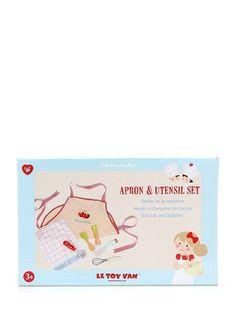Le Toy Van Apron & Utensil Set. 7 parça, ahşap oyun seti. Kutu: 20x13x7,5 cm. 3 yaş üzeri için uygundur