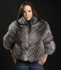 Saga Royal Feathered Blue Frost Fox Fur Jacket from Full Skins All Sizes | eBay