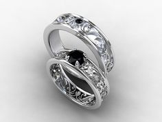 Wedding band set, white gold, Black diamond wedding band, mens diamond ring, filigree, black diamond wedding, gothic,  ring set