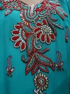 Bead embroidery near neckline
