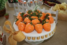 """Carrot"" strawberries at a Peter Rabbit party!  Perfect for an Easter themed baby shower cake - BabyBump - the app for pregnancy - babybumpapp.com"