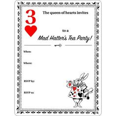 alice in wonderland invitations blank template mad hatter