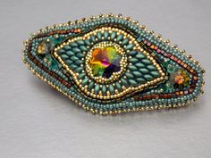 Check out Bead Embroidery, Barrette, Seed bead jewelry,Swarovski jewelry, Teal , Green , Gold,Hair clip on vicus