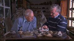 Sir David Attenborough discussing Trilobites with Professor Richard Fortey.