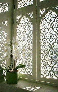 25 Ideas Screen Design Architecture Shutters For 2019 Window Panels, Window Coverings, Window Treatments, Window Screens, Window Blinds, Window Inserts, Window Dressings, Moroccan Decor, Moroccan Bathroom