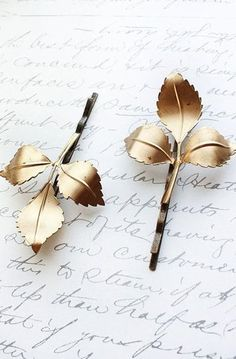 Gold Leaf Bobby Pins Branch Hair Accessories