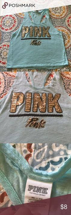 Pink crop top by VS Extra small Aqua crop top by Victoria's secret. There is a few white stains on the front and on the back I have documented the photos this has been worn has been used and this is not like new but all the sequence and everything else is in great condition. Smoke free clean home. PINK Victoria's Secret Tops Tank Tops