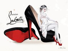 Christina Alonso - MY LOUBOUTINS (personal work, inspired by Christian Louboutin 'Bianca' stilletos) Fashion Wall Art, Fashion Prints, Fashion Design, Fashion Sketches, Fashion Illustrations, Christian Louboutin, Chanel Art, Illustration Mode, Illustration Pictures