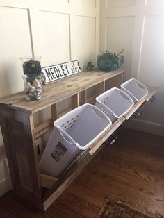Pull out laundry bins will save space and act as a dresser to feature some of your favorite knick-knacks.